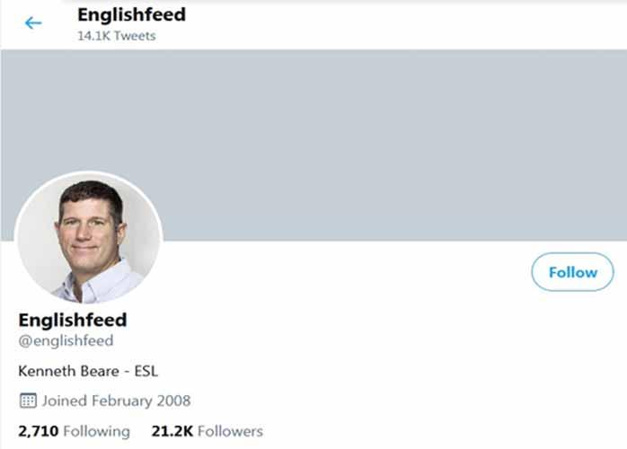 آموزش زبان با توئیتر english feed