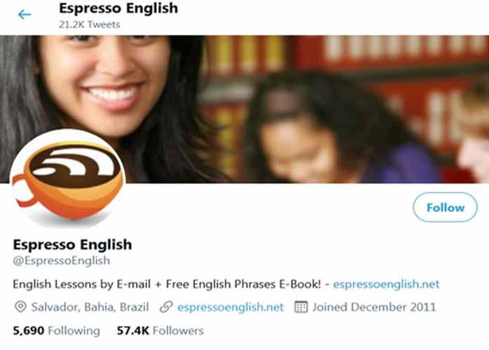 آموزش زبان با توئیتر espersso english