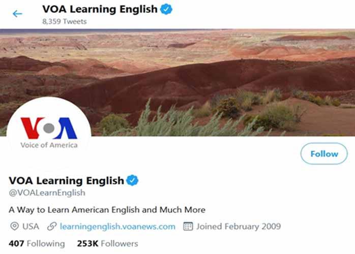 آموزش زبان توئیتر voa